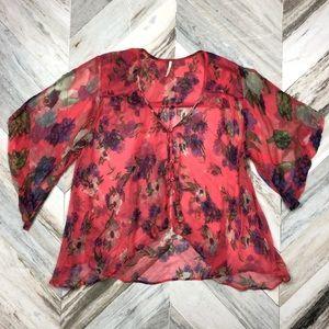 Free People Sheer Floral Hot Pink Boho Blouse XS